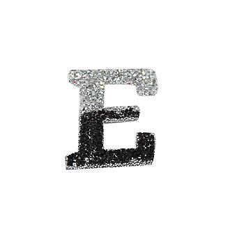 Black and Silver Double Glitter Alphabet Sticker - E