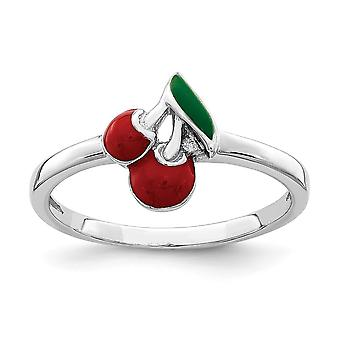 925 Sterling Silver Rhodium plated for boys or girls Enameled Cherry Ring - Ring Size: 3 to 4
