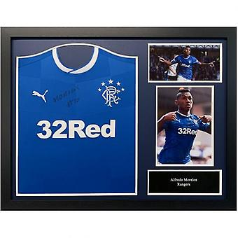 Rangers Morelos Signed Shirt (Framed)