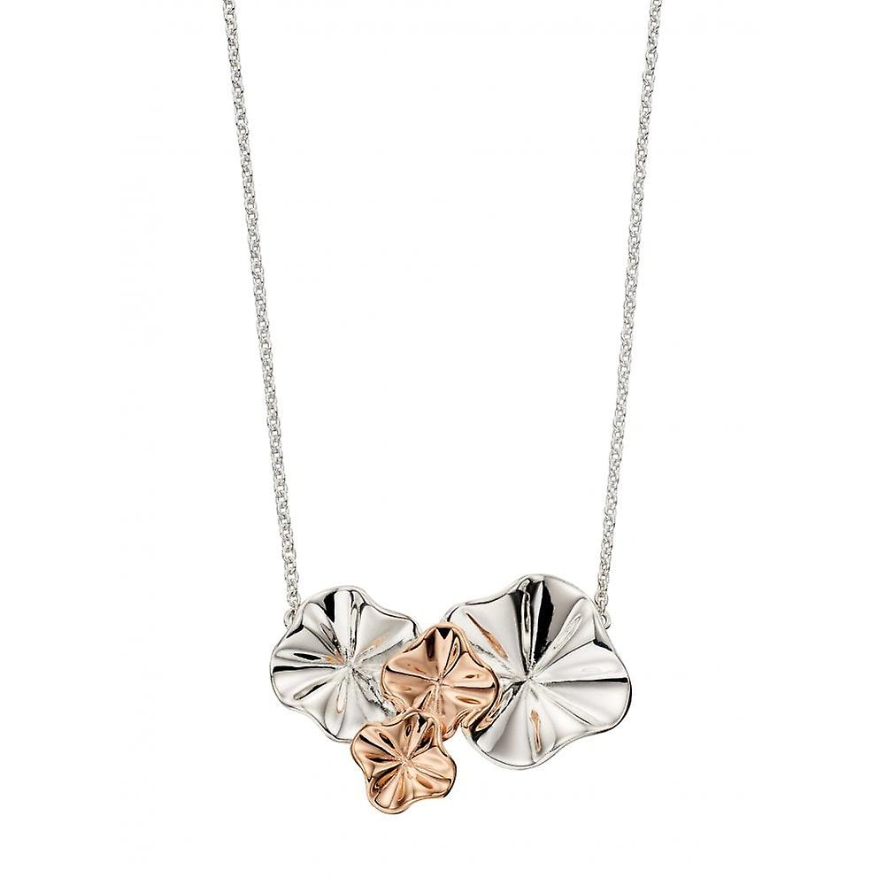 Joshua James Serenity Silver & Rose Gold Plated Ruffle Flower Necklace