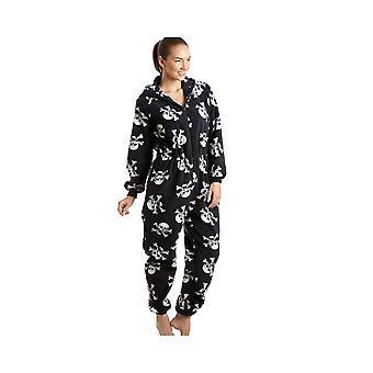 Камиль Женская дамы роскоши все в один черный и белый череп печати с капюшоном флис Onesie пижама размеров 10-40