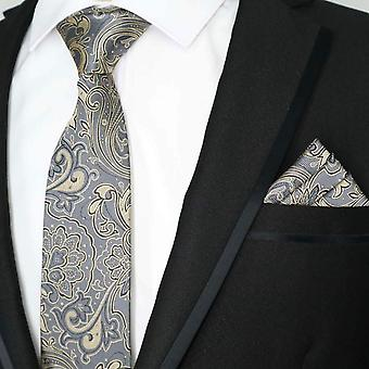 Gun metal grå paisley mønsteret slips & pocket square