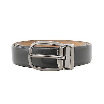 Dolce & Gabbana Gray Leather Silver Buckle Belt