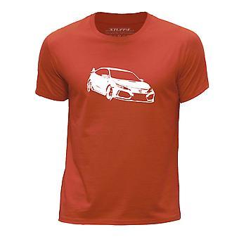 STUFF4 Boy's Round Neck T-Shirt/Stencil Car Art / Civic FK8/Orange