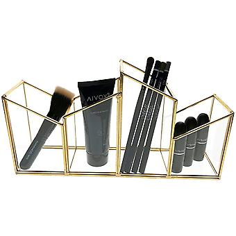 OnDisplay Skyline Deluxe Glass/Golden Steel Cosmetic/Desktop Pencil Cup  - Perfect for Vanity, Bathroom, Office, or Desktop - Classic Versatile Organizer