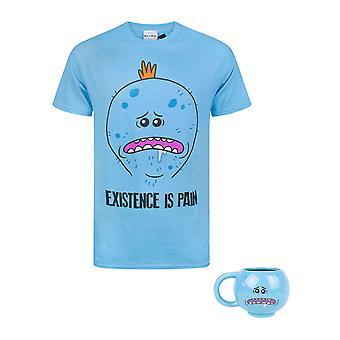 Rick and Morty Mr Meeseeks Men's T-Shirt and 3D  Novelty Mug Bundle Set