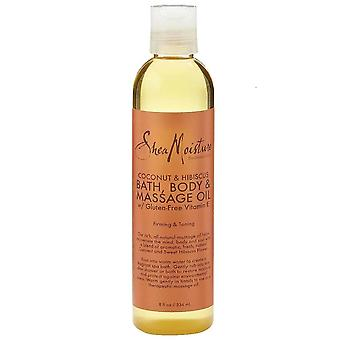 Shea moisture coconut & hibiscus bath, body & massage oil, 8 oz