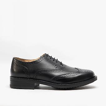 Roamers Warren Mens Couro Brogue Derby Sapatos Preto
