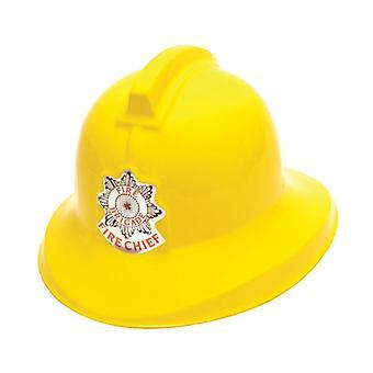 Capacete de bombeiro, plástico amarelo