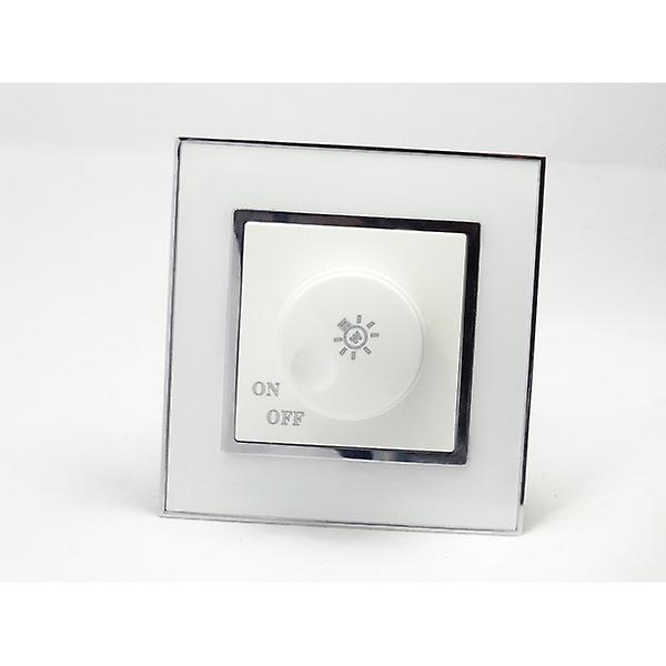 I LumoS AS Luxury White Mirror Glass Single Frame 1 Gang Rotary Dimmer Light Switch