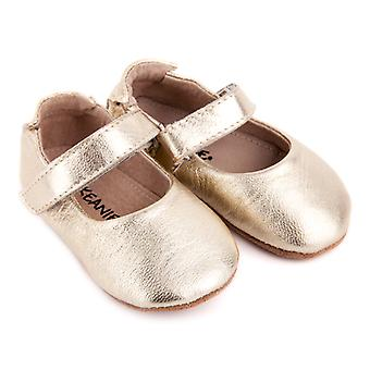SKEANIE Leather Mary-Jane Pre-walker Shoes in Gold