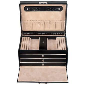 Sacher jewelry case jewelry box leather black lockable lock secret compartment