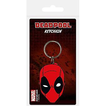 Deadpool Face Rubber Keychain