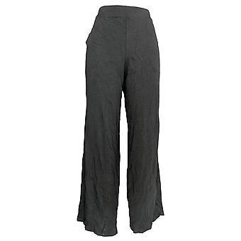 Denim & Co. Women's Beach Pull-On Wide Leg Knit Pants Zwart A305631