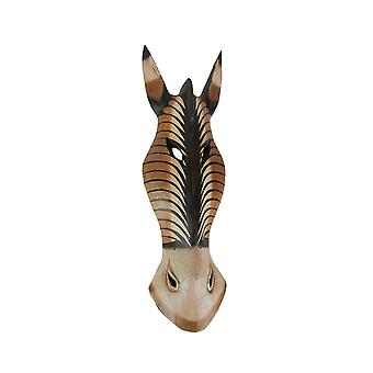 Mão pintada de madeira esculpida madeira zebra máscara de selva parede pendurado 20 polegadas