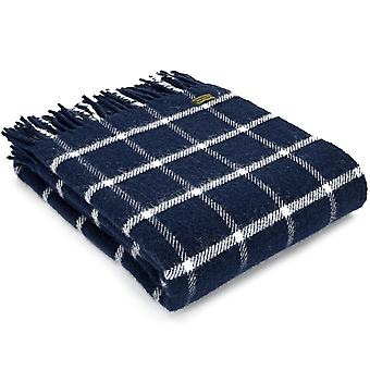 Tweedmill Pure New Wool Chequered Check Navy Throw