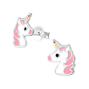 Unicorn - 925 Sterling Silver Colourful Ear Studs - W34358x