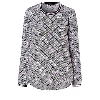 Olsen Black & Purple Check Blouse