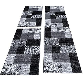 Mattbädd gräns kort stapellöpare set sovrum 3 delar svart fläckig