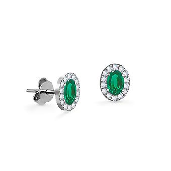 Earrings Princess 18K Gold and Diamonds with Ruby | Emerald | Sapphire - White Gold, Emerald