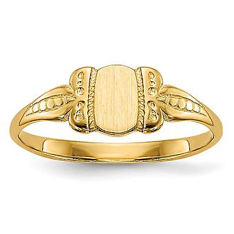 14k Yellow Gold Solid Engravable Closed back Polished and satin for boys or girls Signet Ring Size 3