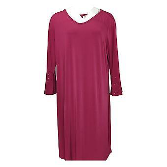 Quacker Factory Plus Knit Dress w/ Rhinestone Bell Slvs Purple A309662