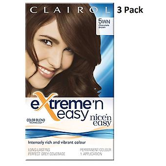 3 x Clairol Extreme 'n Easy Colour Blend Permanent Dye- 5WN Chocolate Brown