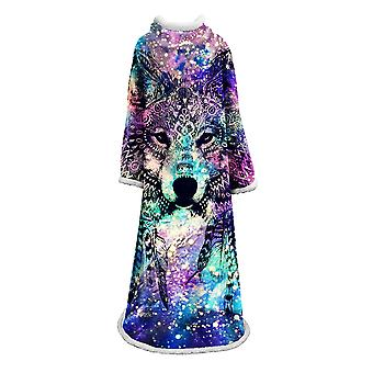 Animal printed blanket with sleeves Polyester multifunctional blanket Warm portable