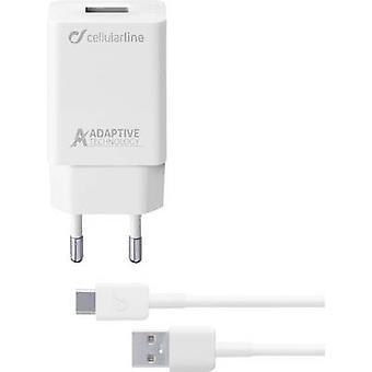 Cellularline ACHSMKIT15WTYCW 39229 USB-lader aansluiting max. uitgang 2400 mA 1 x USB 2.0 poort A, USB 3.0 connector C