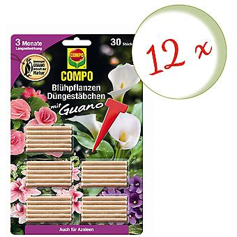 Sparset: 12 x COMPO Flowering plants Fertilizer sticks with guano, 30 pieces