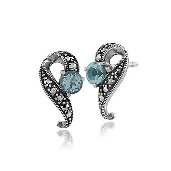 Art Nouveau Style Round Blue Topaz & Marcasite Swirl Stud Earrings in 925 Sterling Silver 214E555803925