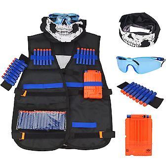 Childrens Black Tactical Gun Accessories Waistcoat - Ammo Holder Elite Pistol Bullets Darts For Nerf Mask Goggles Type - Helmet