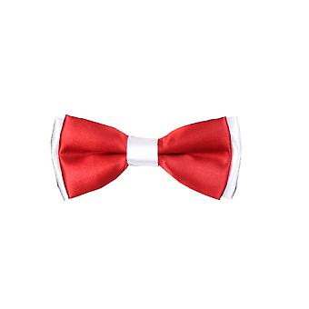 Boys Pre-tied Adjustable Neck Strap Kids Bowtie with Hanky In Red And White