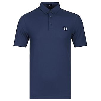 Fred Perry knapp down Royal blå pikétröja
