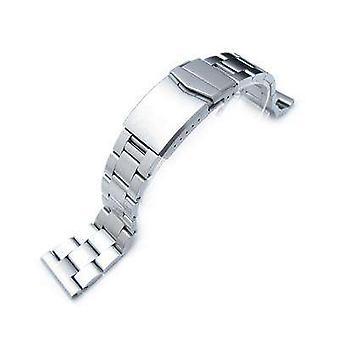 Strapcode watch armbånd 22mm super østers solid rustfritt stål rett ende ur bånd, børstet, v-lås knappen dobbel lås