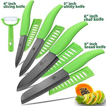 Ceramic Knife 3 4 5 Inch + 6 Inch Kitchen Knives - Serrated Bread Set + Black Blade Fruit Chef Knife