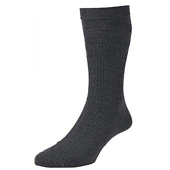 6 Pair Pack Of Hj Hall Hj90 Wool Rich Softop Wider Loose Top Non Elastic Socks 6-11 Charcoal
