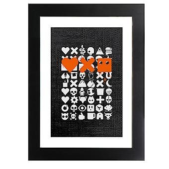 Love Death And Robots White Icons Framed Print