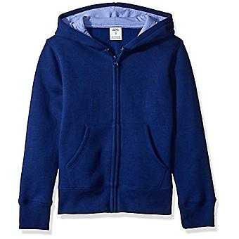 Essentials Big Girls' Fleece Zip-up Hoodie, Dark Blue 4T