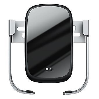 Baseus 10w bil trådløs lader w infrarød rask lading bil telefonholder lås bil luftventil + tank suge base ladestasjon for 4,5-6,5 tommers