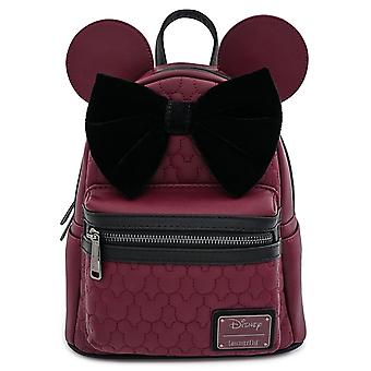 Loungefly Disney Minnie Mouse Maroon Quilted Mini Mochila