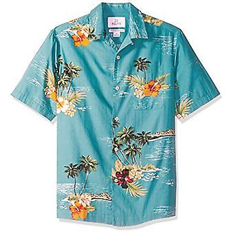 28 Palmer Män & apos; s Avslappnad-Fit 100% Bomull Tropisk Hawaiian Shirt, Dark Aqua Sce ...