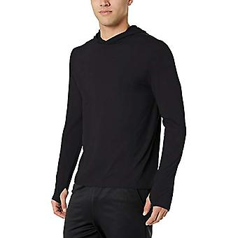 Essentials Menn's Tech Stretch Langermet Ytelse Pullover Hettegenser, Svart, X-Liten