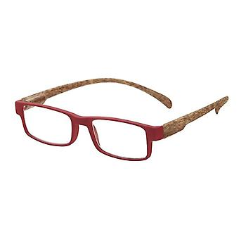 Reading Glasses Unisex Monkey Wood Red/Brown Strength +3.00 (le-0179C)