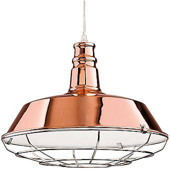 1 Light Dome Ceiling Pendant Copper, Chrome Grill, E27