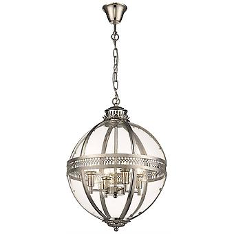 Éclairage de ressort - 4 lumière plafond rond pendentif nickel avec verre, verre, E14