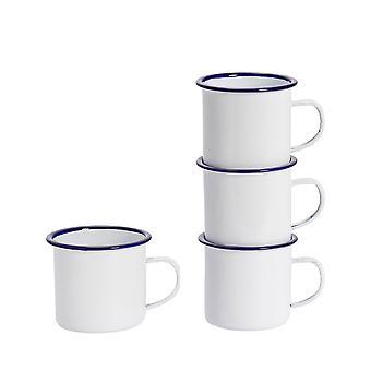 Argon Servies Premium Witte Emaille Thee / Koffiemokken - 380ml - Blauwe Trim - Pak van 4