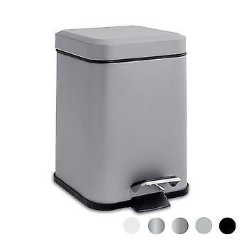 Square Steel Bathroom Pedal Bin with Removable Inner Bucket, 3 Litres - Grey