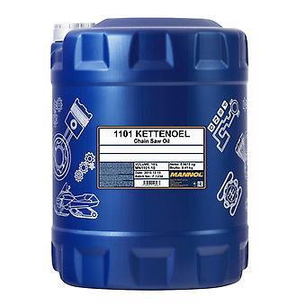Huile à tronçonneuse minérale Mannol Kettenoel 10L pour les scies à essence et électriques