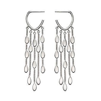 Fiorelli Silver Drop Shape Waterfall Hoop Earrings E5888